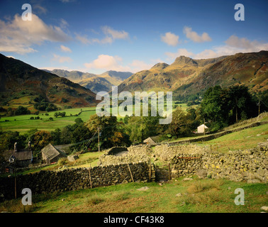 View across Langdale valley towards Langdale Pikes in the Lake District. - Stock Photo