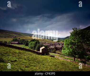 The small rural village of Thwaite in the Yorkshire Dales. - Stock Photo