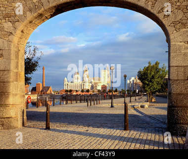 View towards the Liver Building from the Albert Dock on the Liverpool waterfront. - Stock Photo