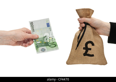 A 100 Euro bill is held in the hand. At the other side a money bag with a pound currency sign is held in the hand. - Stock Photo