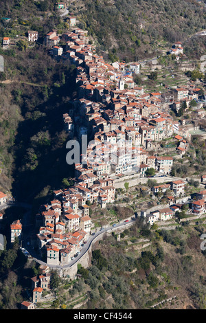 PERCHED MEDIEVAL VILLAGE (aerial view). Apricale, Liguria's backcountry, Italian Riviera, Italy. - Stock Photo