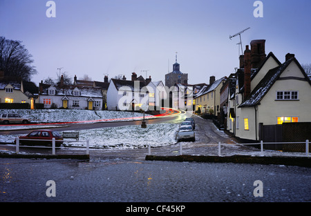 A winter view of the village of Finchingfield. This picture-postcard village, often referred to as the most photographed - Stock Photo