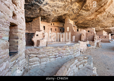 Spruce Tree House ruins in alcove at Chaplin Mesa in Mesa Verde National Park, Colorado, USA - Stock Photo