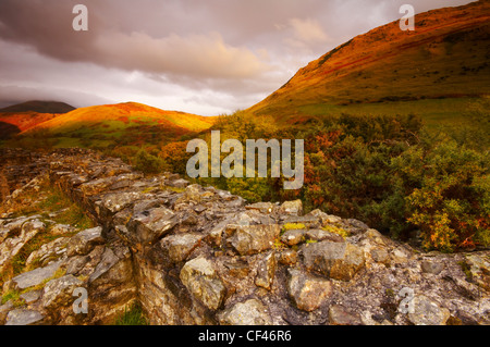 The hilltop ruin of Castell Y Bere in late Autumn light in Snowdonia. - Stock Photo
