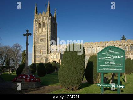 A view toward Holy Trinity Church which is one of the great Suffolk wool churches. - Stock Photo