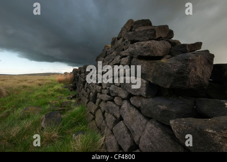 A dry stone wall near Stannage Edge - Stock Photo