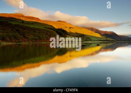 Fishing boats on Tal Y Llyn lake in Snowdonia.