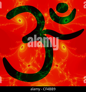 Dark green OM symbol overlaid on fractal image suggestive of stars and galaxies - Stock Photo