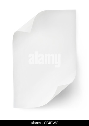 White sheet of paper isolated on white background. Clipping path - Stock Photo
