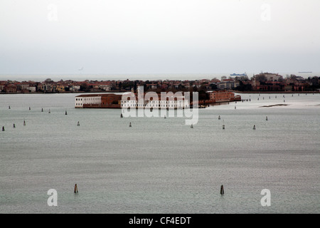 Monastery  of the Benedictine monks on Isola di San Servolo Venetian Lagoon, Venice Italy - Stock Photo