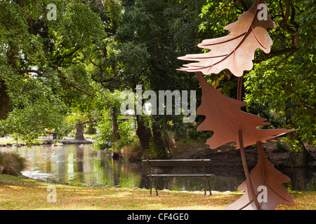 Leaf sculpture in Hagley Park, Christchurch, New Zealand, by Raymond Herber 2006. - Stock Photo
