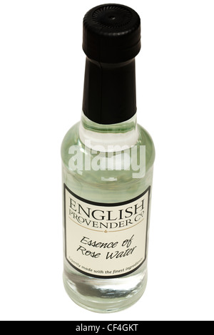 Bottle of English Provender Co Essence of Rose Water - Stock Photo