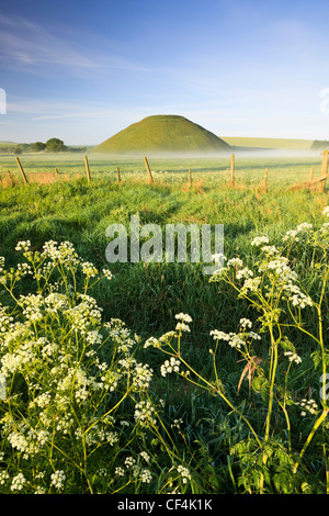 Silbury Hill, an artificial chalk mound, the tallest prehistoric human-made mound in Europe, on a summer's morning - Stock Photo