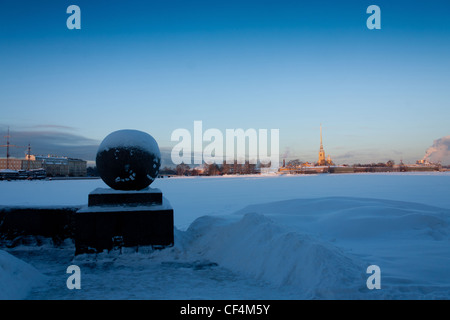 the Spit  of Vasilievsky Island, Strelka of Vasilievsky Island, Russia, Saint-Petersburg,The Peter and Paul Fortress, - Stock Photo