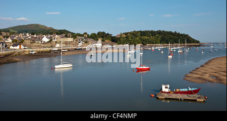 Boats in the picturesque harbour at Conwy in North Wales. - Stock Photo
