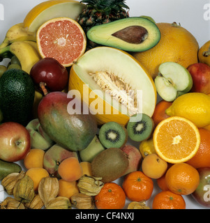 Tropical fruits bought in a supermarket - Stock Photo
