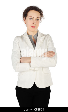 young beauty brunette woman in business dress, standing with crossed hands, half body, isolated on white - Stock Photo