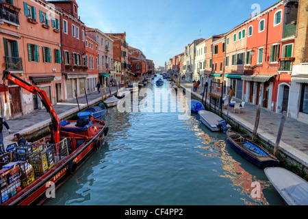Murano, Rio dei Vetrai, in the background Chiesa di San Michele in Isola, Venice, Veneto, Italy - Stock Photo
