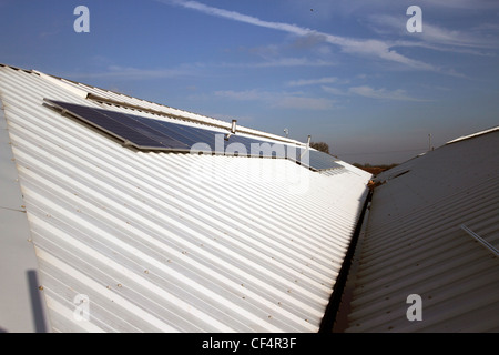 40 solar panels on a garden Centre roof - providing 10 kilowatts of energy - Stock Photo
