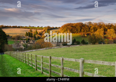 View of picturesque Cotswold village of Naunton in Gloucestershire, UK - Stock Photo