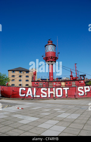 The Calshot Spit lightship, once used to guide vessels entering Southampton water, now a permanent attraction at - Stock Photo