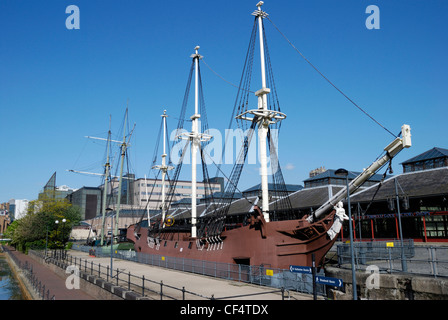 Replica of the Three Sisters pirate ship at Tobacco Dock. The ship is on permanent display and is representative - Stock Photo