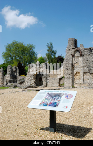 An information board in Wolvesey Castle (old Bishop's Palace), former principle residence of the wealthy and powerful - Stock Photo