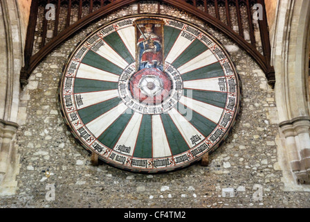 The Round Table in the Great Hall in Winchester. The table was once thought to be that as the mysterious table of - Stock Photo