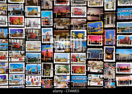 Picture postcards for sale on a stand in London. - Stock Photo