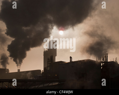 Smoke billowing out from chimneys at the Billingham chemical complex. - Stock Photo