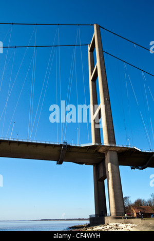 The North Tower of the Humber Bridge, the fifth-largest single-span suspension bridge in the world. - Stock Photo