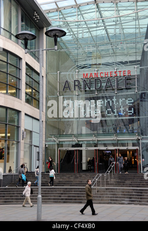 Shoppers outside the Manchester Arndale, the UK's largest inner-city shopping centre, located in the heart of Manchester - Stock Photo