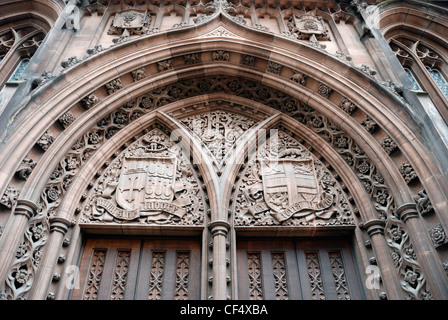 The Victorian Gothic John Rylands University Library on Deansgate in Manchester, one of the best-resourced academic - Stock Photo