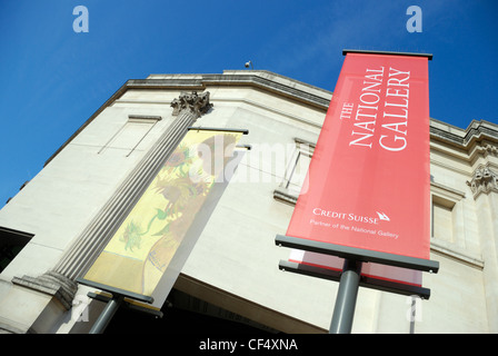 The exterior of the Sainsbury Wing of the National Gallery in Trafalgar Square. - Stock Photo