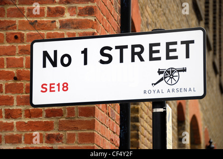 'No 1 Street' street sign at a new riverside development in South East London. - Stock Photo