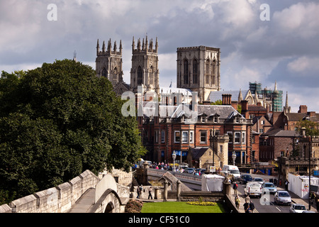 York Minster viewed from the City Walls at Station Road. - Stock Photo
