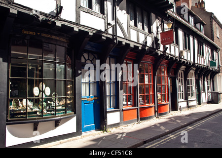 Medieval buildings in High Petergate, the medieval route in to the city from Scotland and the North. - Stock Photo