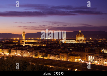View of the Palazzo Vecchio and Duomo in evening light from the Piazzale Michelangelo, Florence, Tuscany, Italy, - Stock Photo