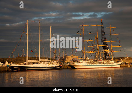 Tall Ships berthed at Victoria Dock, Hartlepool as part of the 2010 Tall Ships Race. - Stock Photo