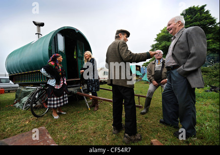 Horse drawn caravans or Gypsy wagons at the Stow-on-the-Wold horse fair May 2009 UK - Stock Photo
