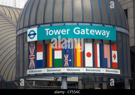 The entrance to Tower Gateway DLR  Station near the Tower of London. - Stock Photo