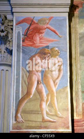 Expulsion of Adam and Eve from the Garden of Eden, by Masaccio, Brancacci Chapel, Santa Maria del Carmine Florence - Stock Photo