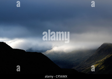 The Llanberis Pass and the Snowdon hills - Stock Photo
