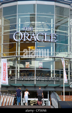 The glass facade and entrance to the   Oracle shopping centre in Reading. - Stock Photo