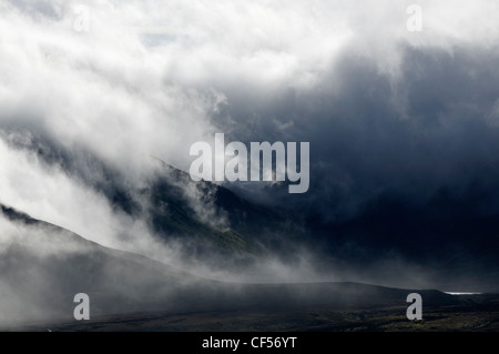 Clouds and ridges in Snowdonia - Stock Photo