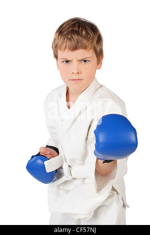 little boxer boy in white dress and blue boxing gloves fighting isolated on white - Stock Photo