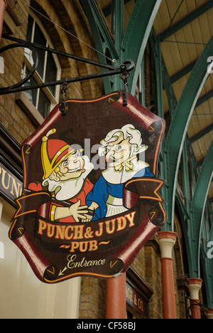 Punch and Judy pub sign in Covent Garden Market. - Stock Photo