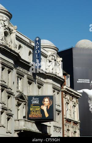 Exterior view of the Apollo Theatre in Shaftesbury Avenue. - Stock Photo