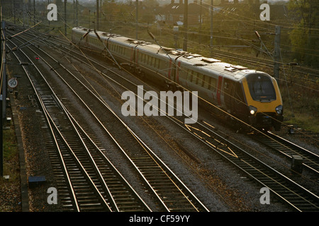 Cross-country Trains Class 221 Voyager train approaching York Station. - Stock Photo