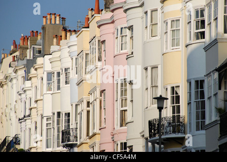 A row of colourful terraced houses in Brighton. - Stock Photo
